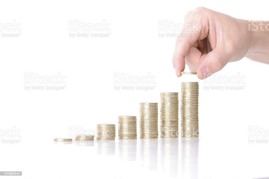 adding to coin chart royalty-free stock photo