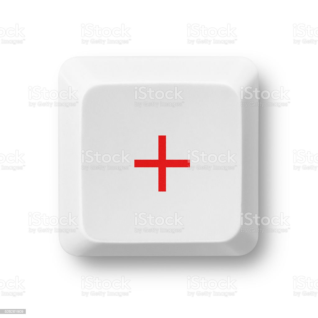 Addition computer key isolated on white stock photo