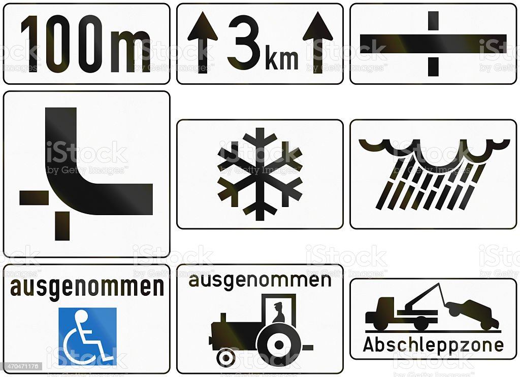 Additional Traffic Panels In Austria stock photo