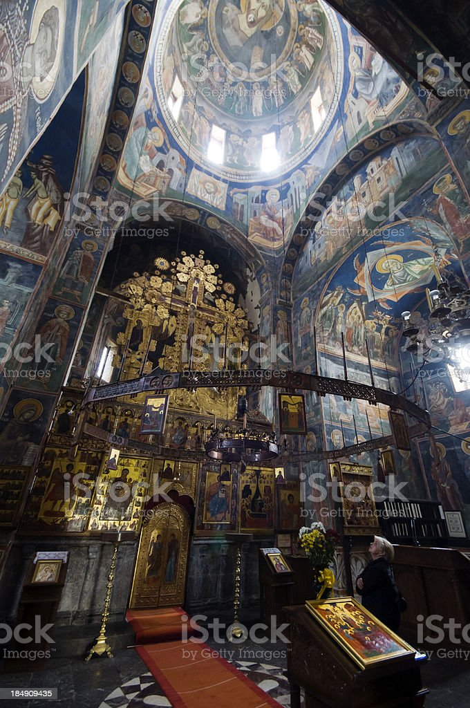 Addoring medieval Frescoes of Monastery Mora?a stock photo