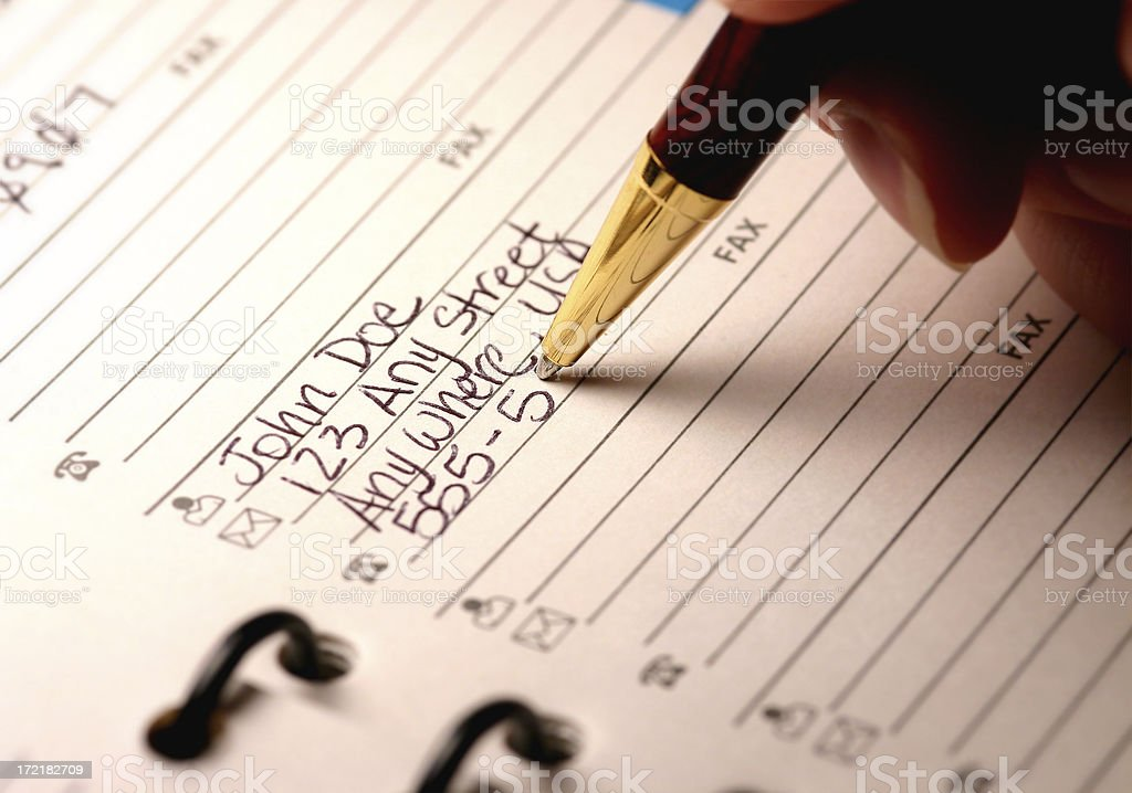 Address Book Entry - Contact Information stock photo