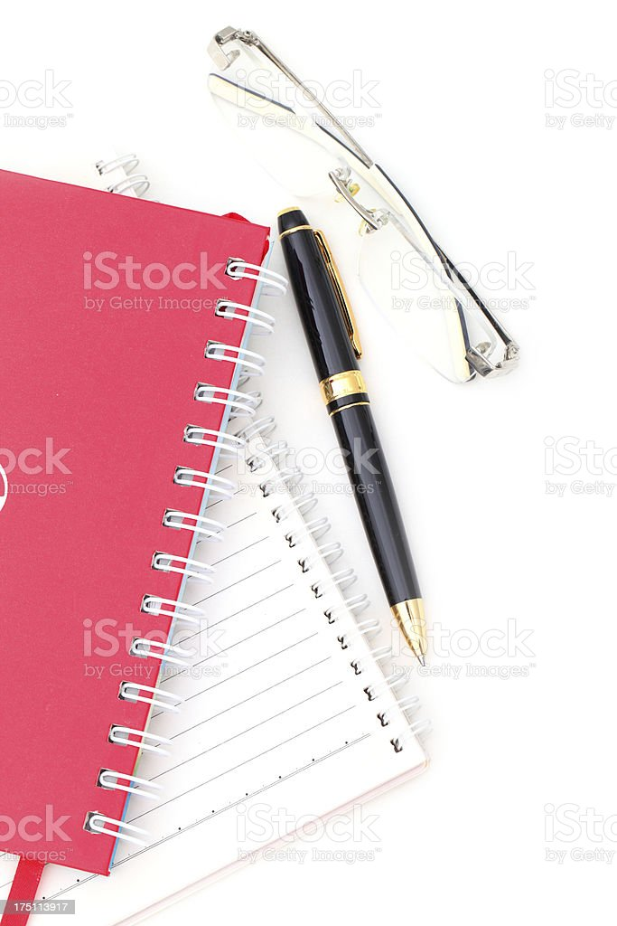 Address book- pen and glasses with copy space royalty-free stock photo