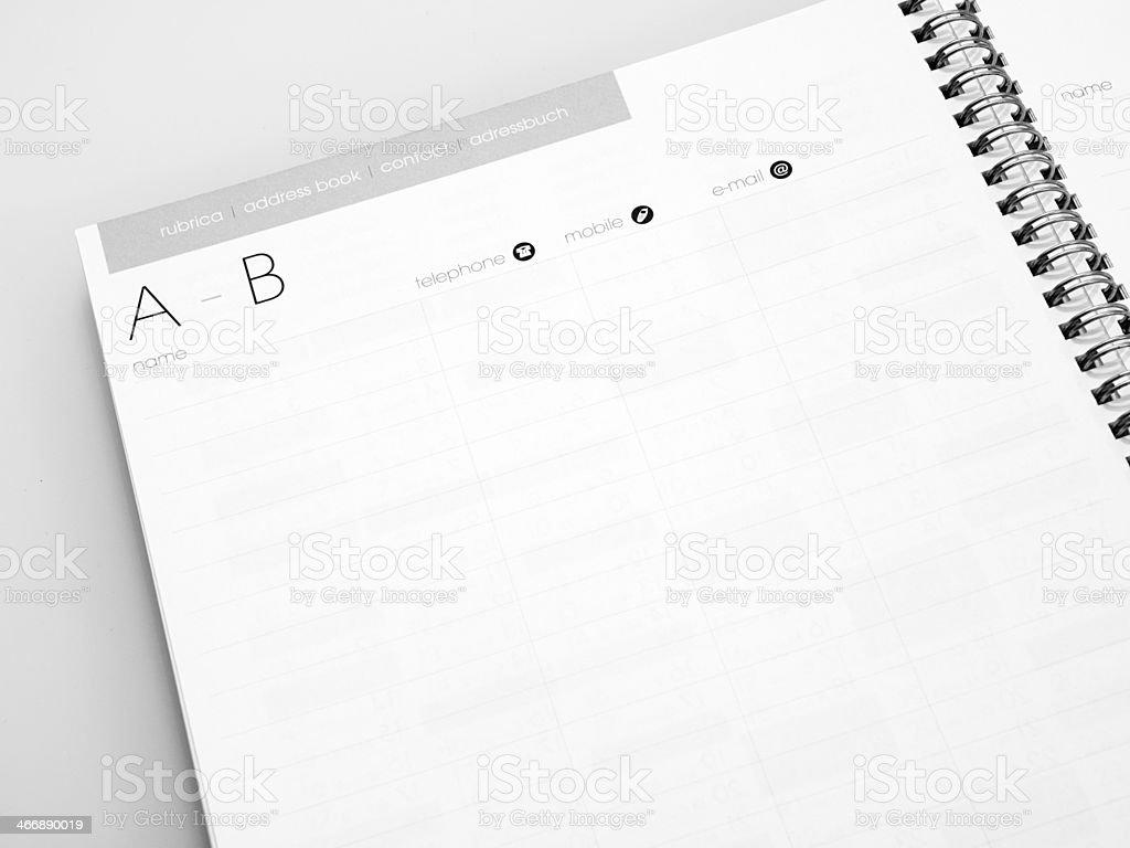 Address Book series, A-B stock photo