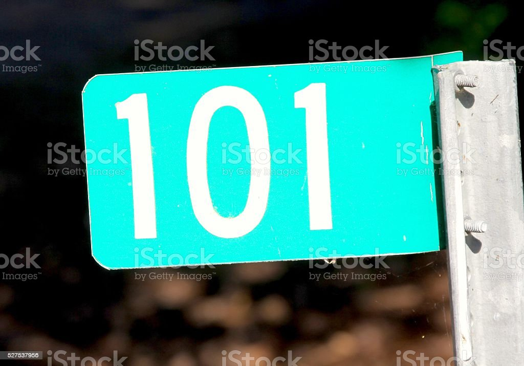 Address Sign With 101 Number stock photo