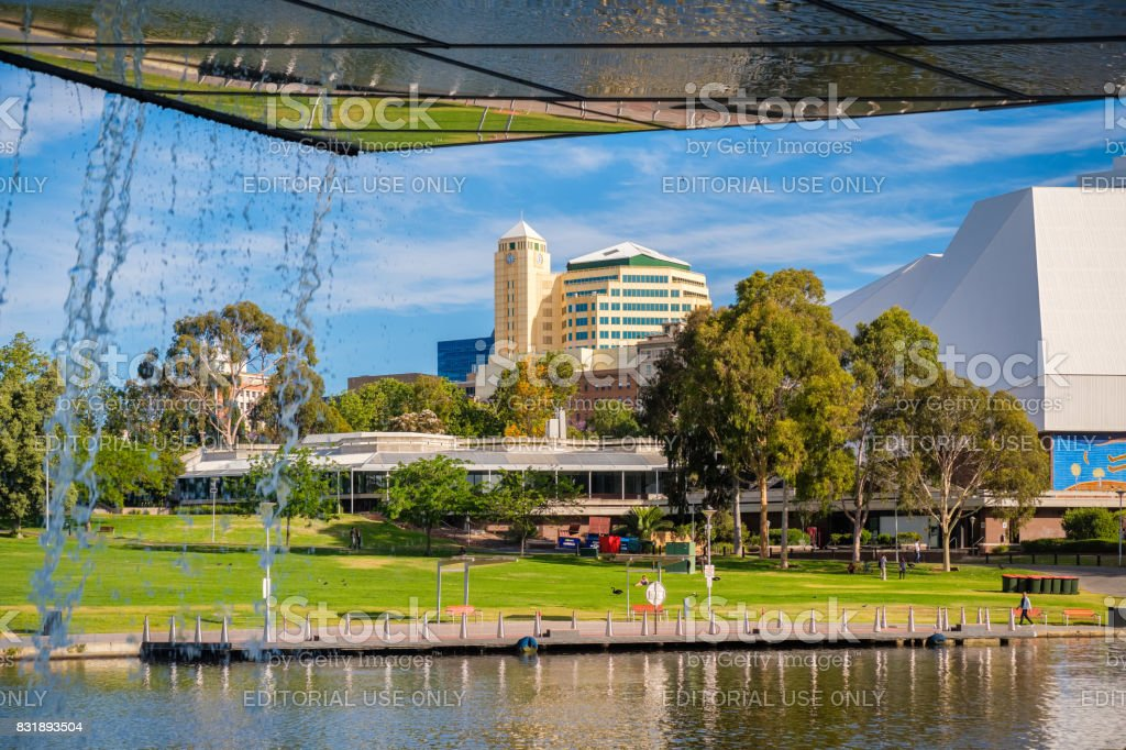 Adelaide city centre viewed from under the foot bridge stock photo