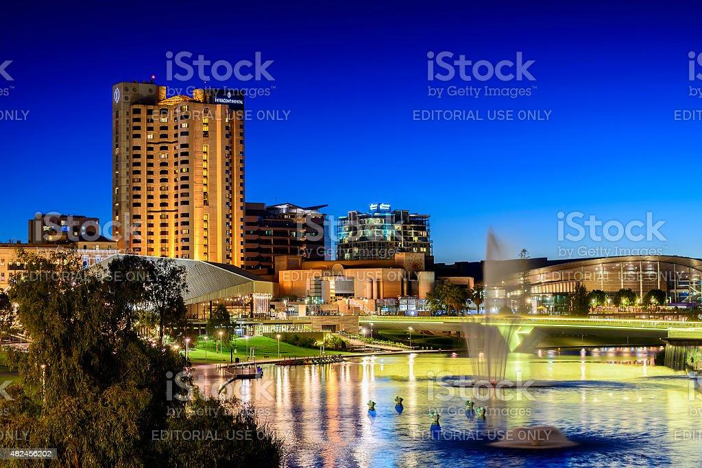 Adelaide city lights stock photo