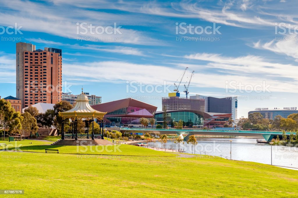 Adelaide city skyline on a day stock photo
