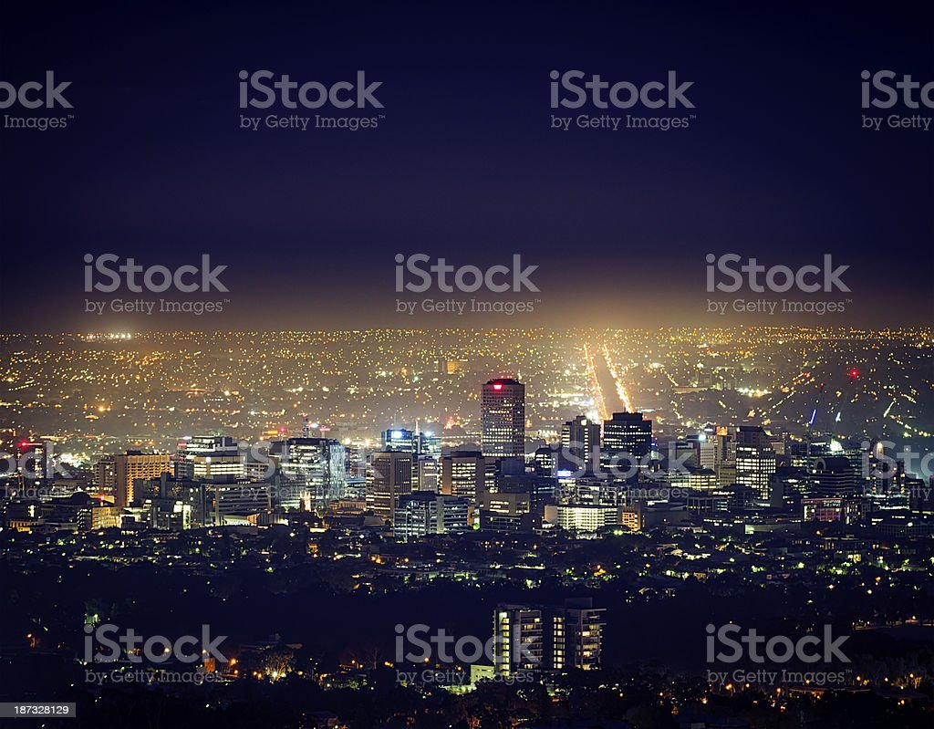 Adelaide Cityscape at Night royalty-free stock photo