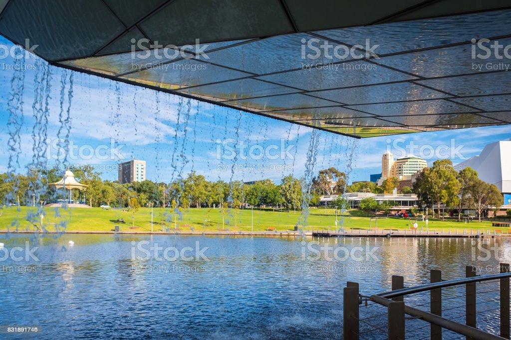 Adelaide Elder park viewed through footbridge waterfall stock photo