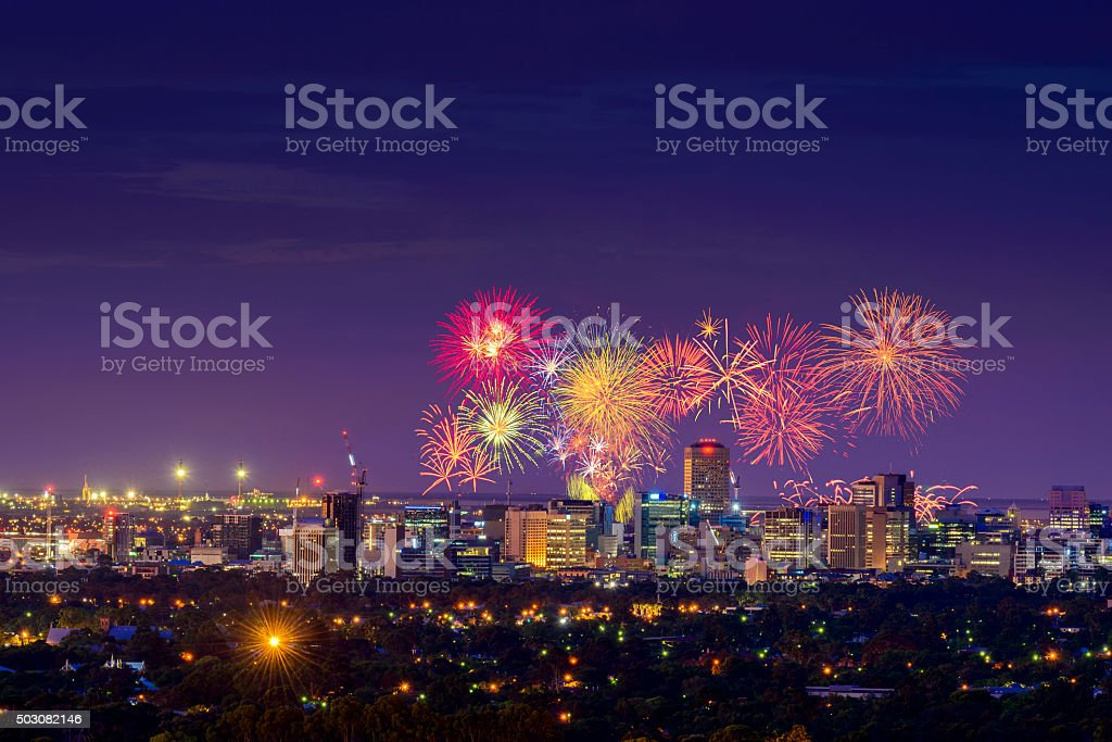 Adelaide fireworks stock photo