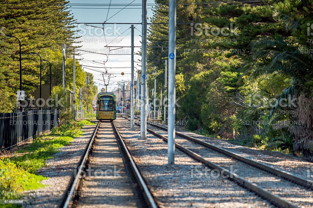 Adelaide Metro tram at Glenelg stock photo