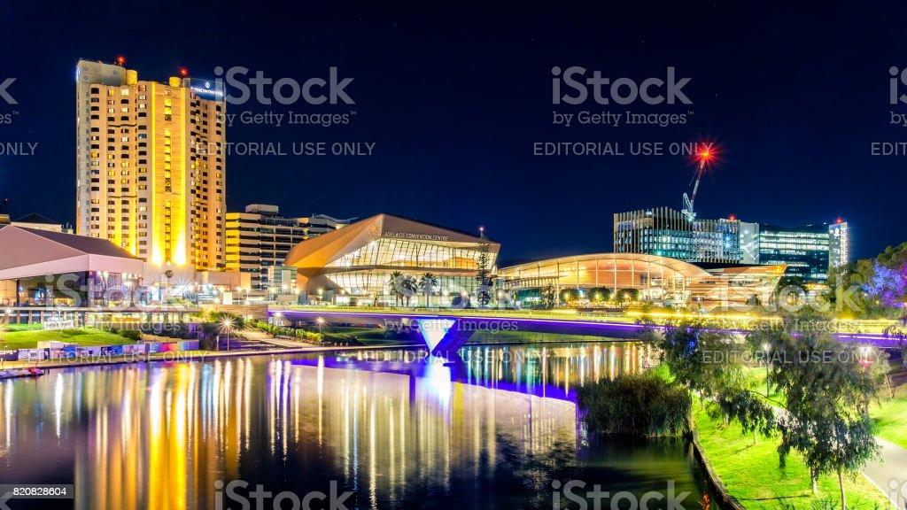 Adelaide night city skyline stock photo
