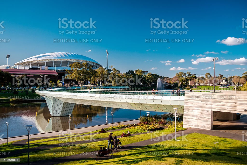 Adelaide Oval and foot bridge stock photo