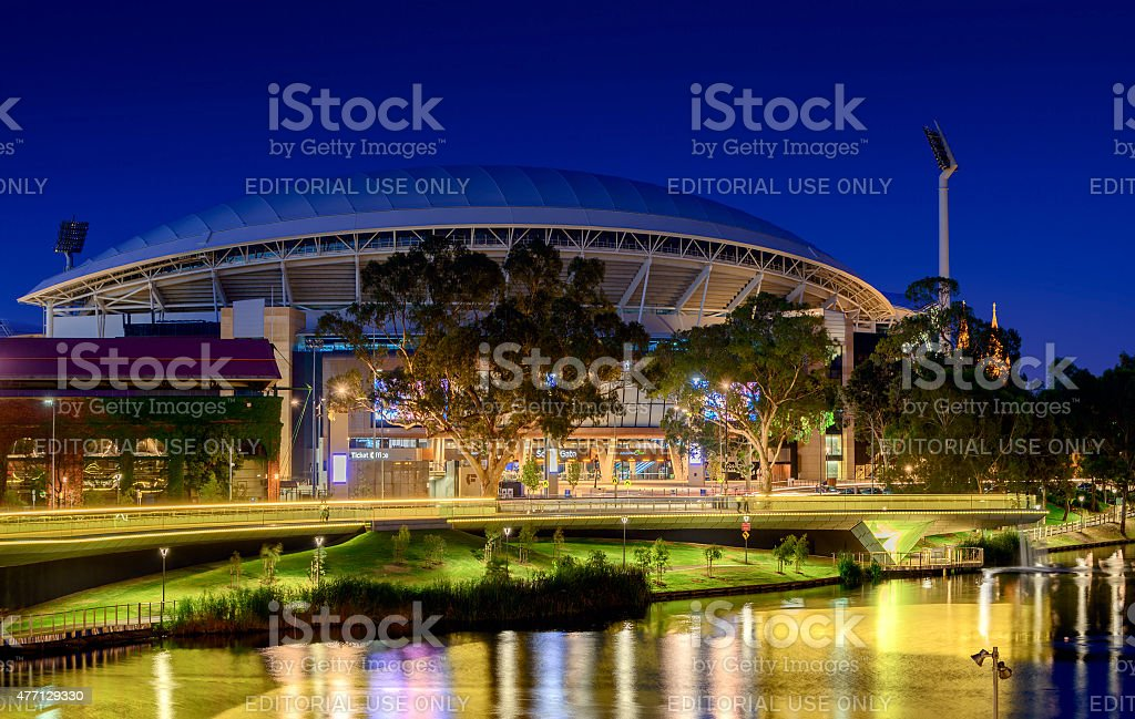 Adelaide Oval and River Torrens Foot Bridge at night. stock photo