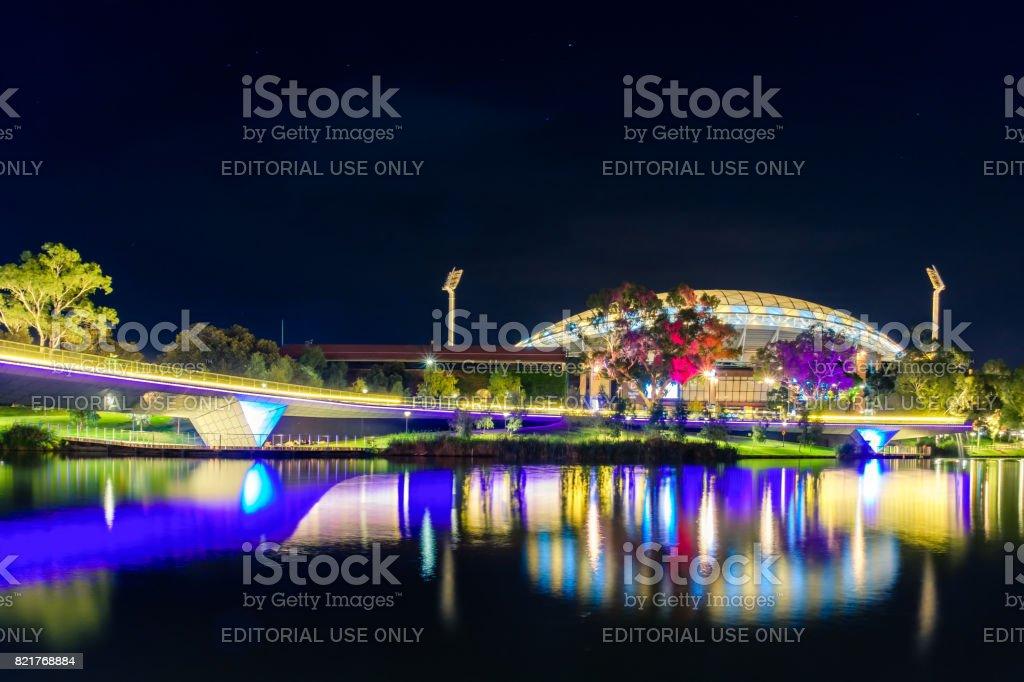 Adelaide oval illuminated at night stock photo