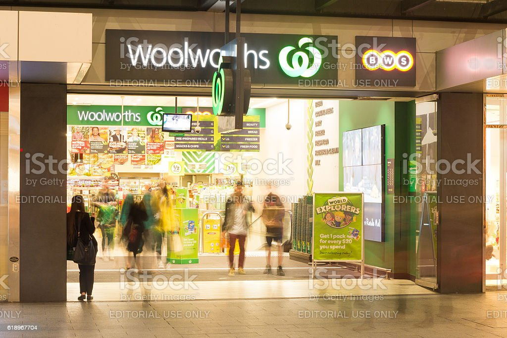 Adelaide Woolworths store at night stock photo