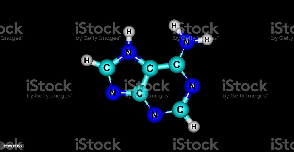 Adenine molecular structure isolated on black stock photo