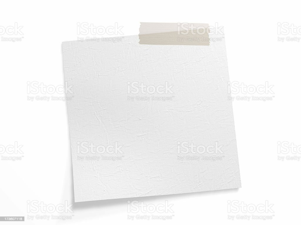 Adhesive band on white note (Clipping Path) royalty-free stock photo
