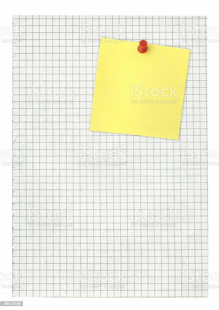 adhesive note and squared pape stock photo