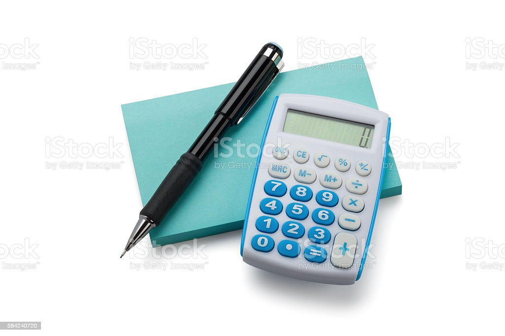 Adhesive Note, Calculator and Pencil stock photo