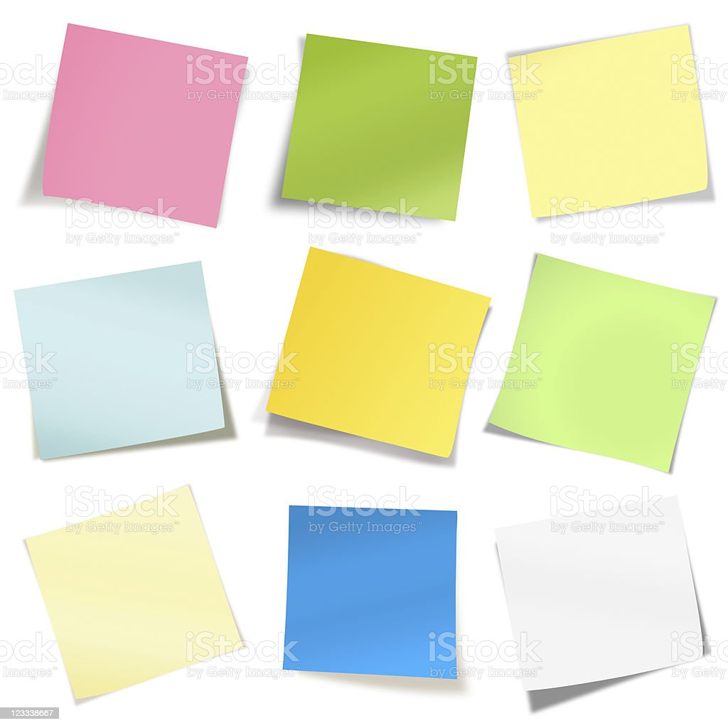 adhesive notes collection stock photo