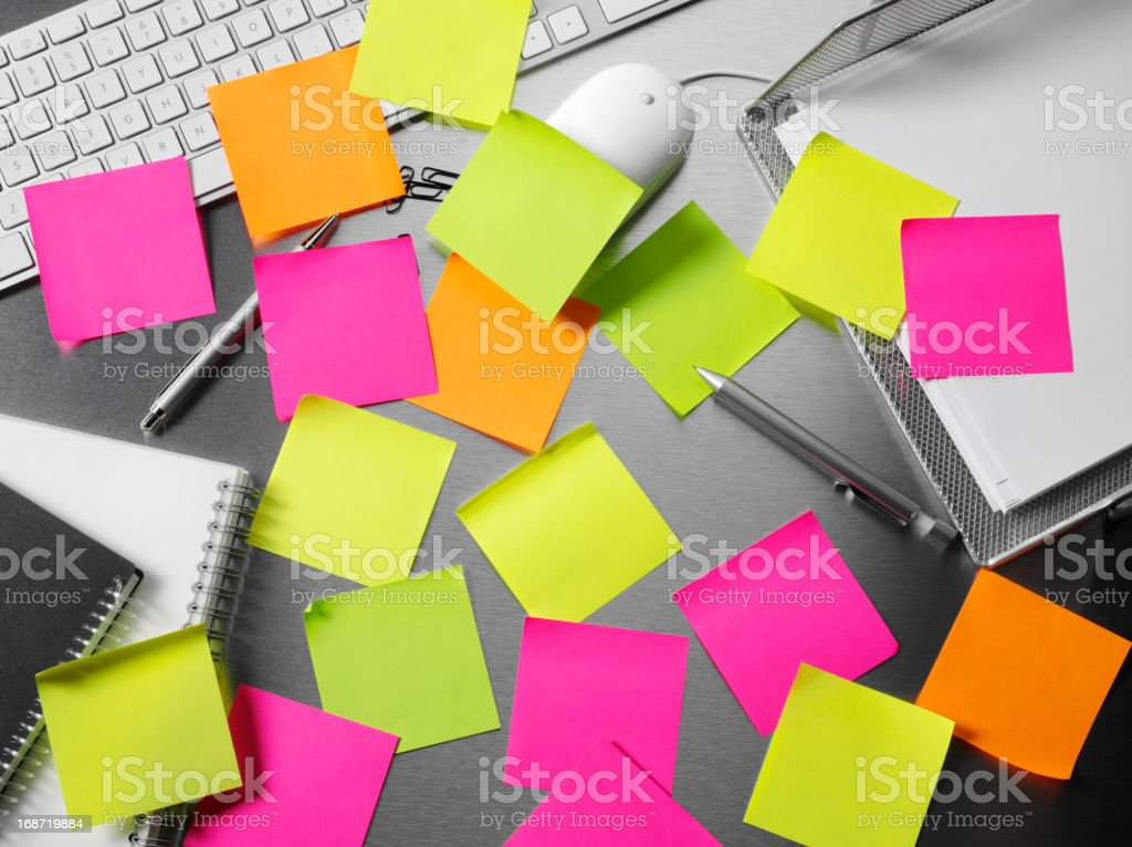 Adhesive Notes on a Office Desk royalty-free stock photo