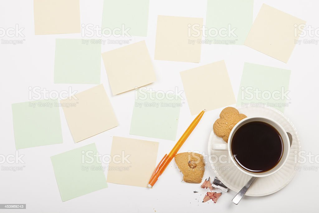Adhesive Notes With Coffee Cup And Cookie royalty-free stock photo