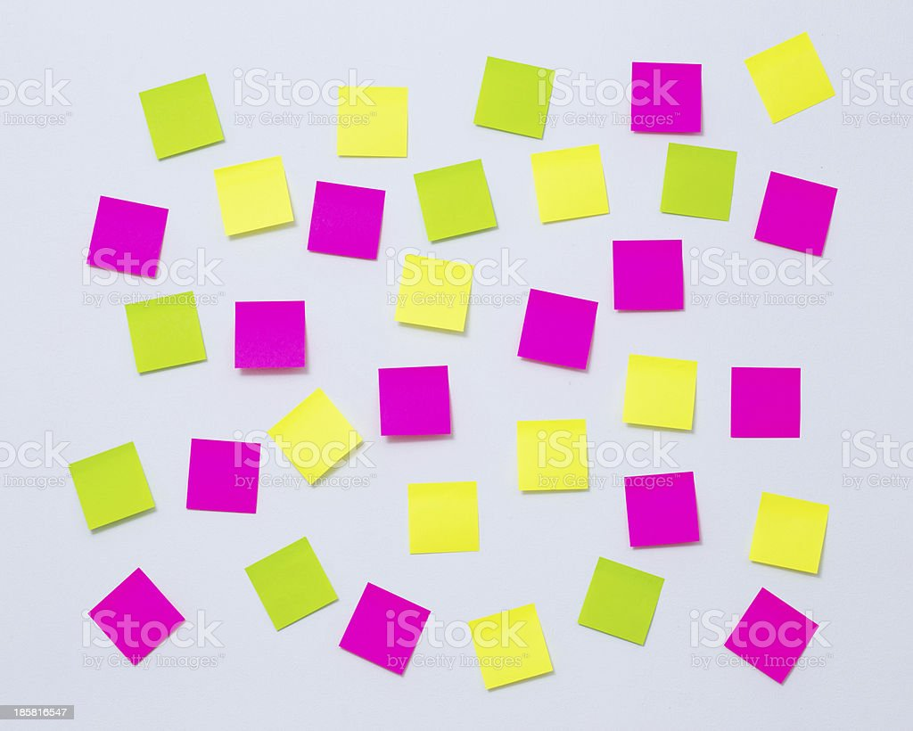 Adhesive paper note  stick on the wall royalty-free stock photo