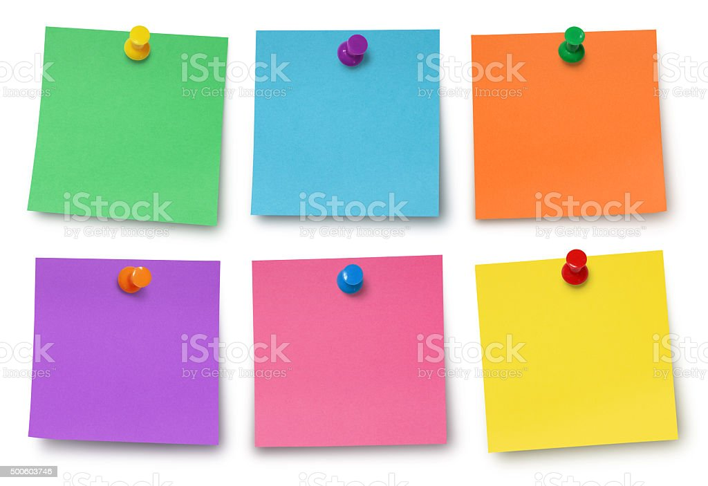 Adhesives Notes and Pushpins (with path) stock photo