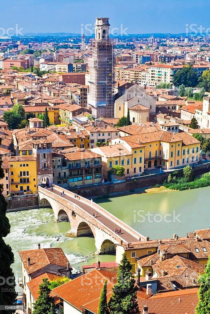 Adige river in Verona stock photo