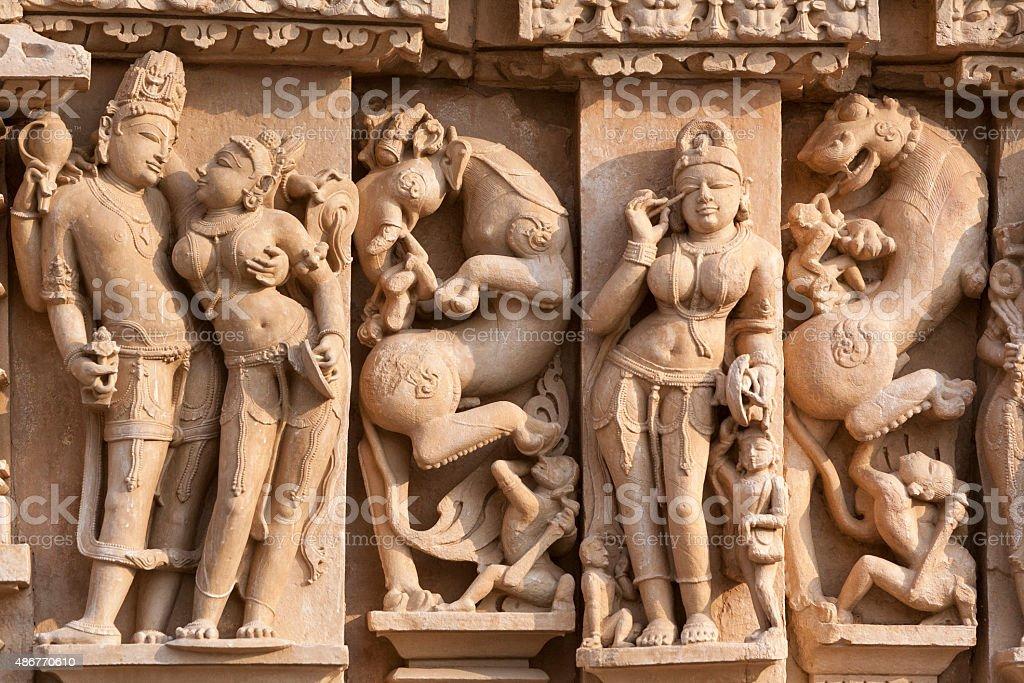 Adinatha sculpture Jain temple, Khajuraho, India stock photo