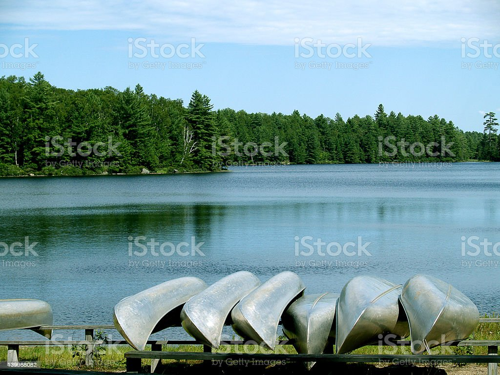 Adirondack Canoes stock photo