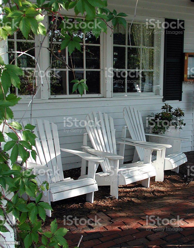 Adirondack Chairs at Country Inn stock photo