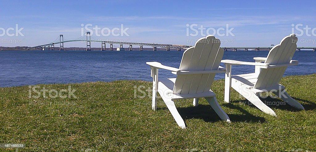 Adirondack Chairs by Bridge royalty-free stock photo