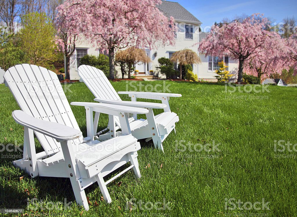 Adirondack chairs stock photo