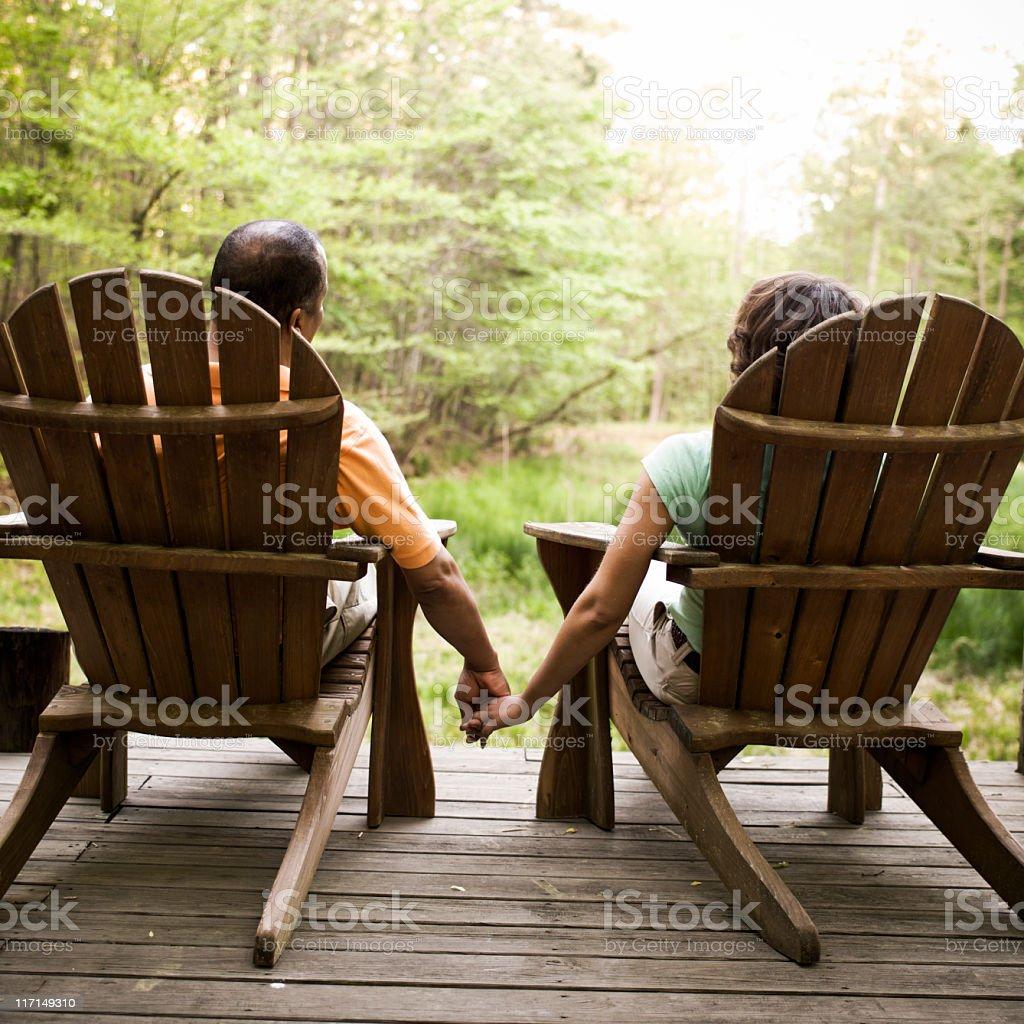 Adirondack Couple Holding Hands royalty-free stock photo