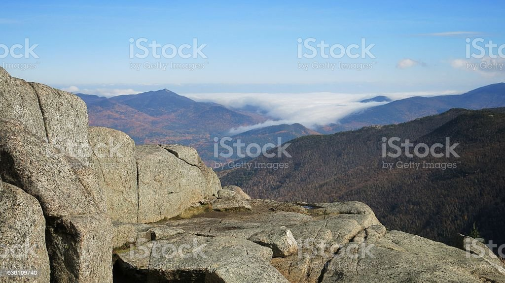 Adirondack High Peak Cascade Mountain Low Clouds stock photo