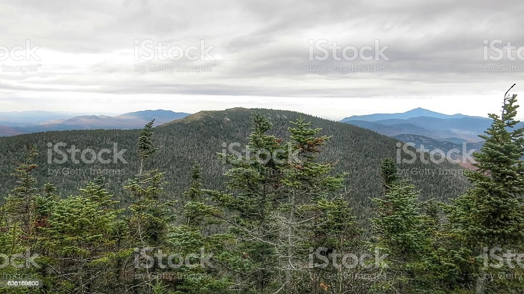 Adirondack High Peak Cascade Mountain Low Clouds stock photo