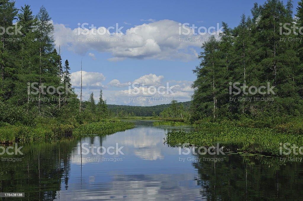 Adirondacks in Upstate New York lake Salanac stock photo