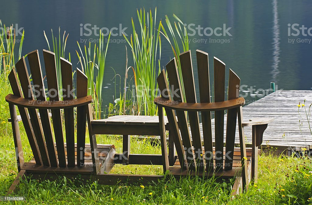 Adirondak Chairs at the Dock stock photo