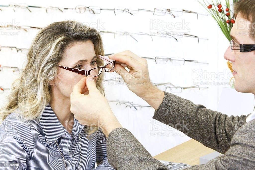adjust new eyewear royalty-free stock photo