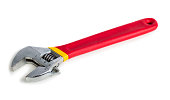 Adjustable wrench with red rubberized handle