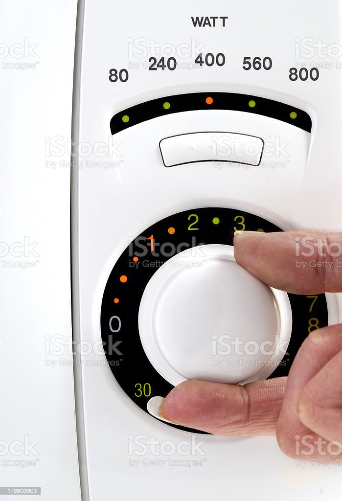 Adjusting Microwave Power  Controls royalty-free stock photo