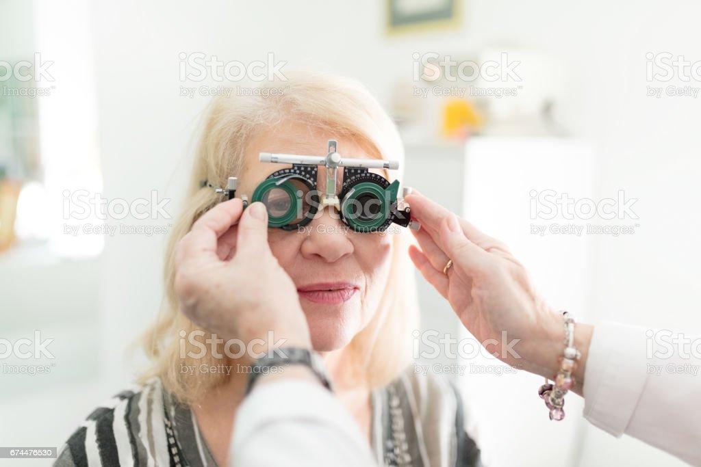 Adjusting test frame stock photo