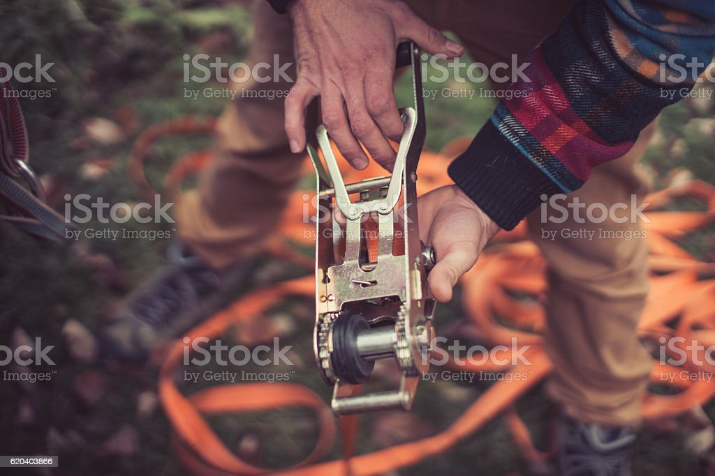 Adjusting the rope stock photo
