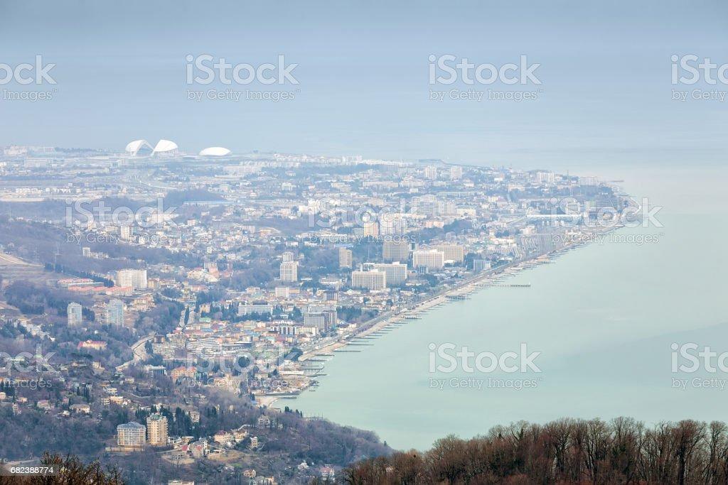 Adler Cape in the haze. Sochi. Russia stock photo