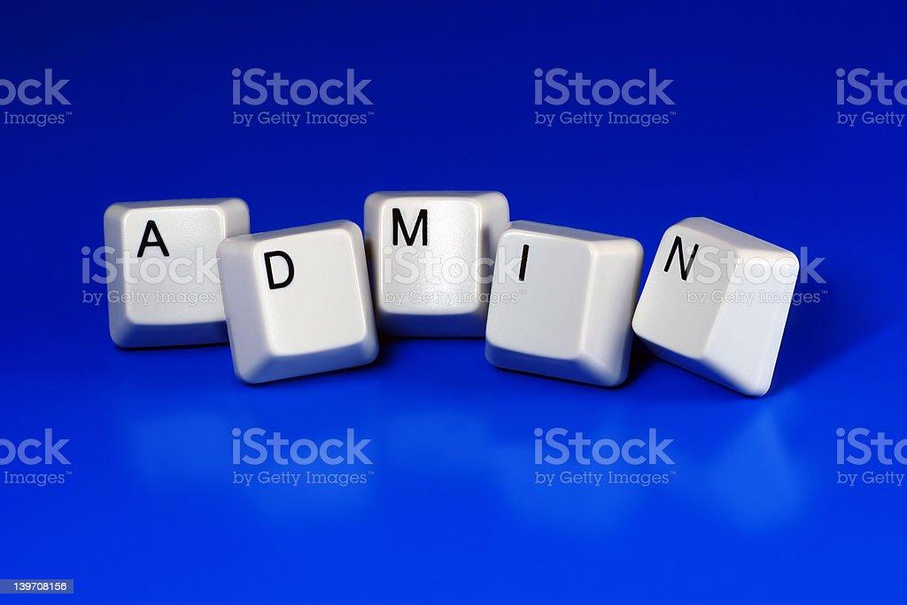 admin / administrator - keyboard keys stock photo