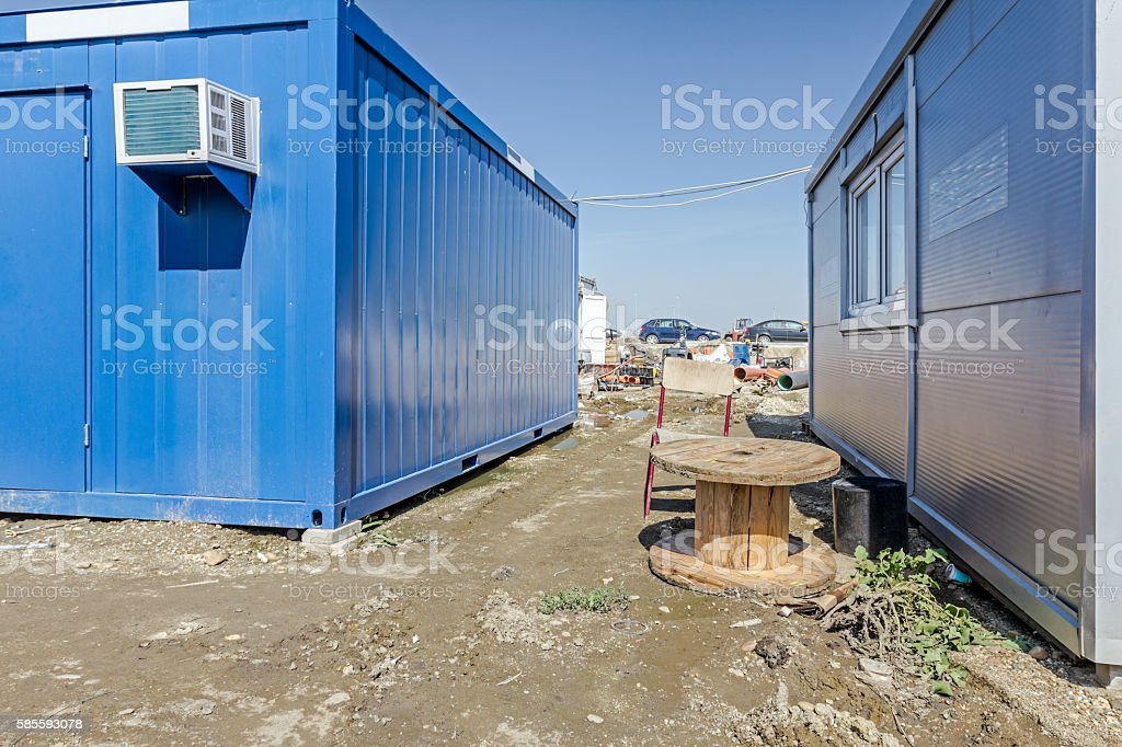 Administration settlement at building site stock photo