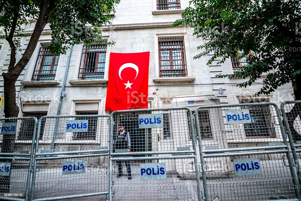 Administrative building behind police fence, Istanbul, Turkey stock photo