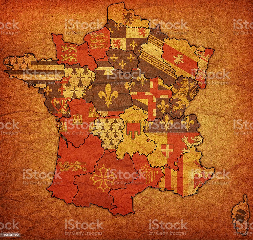 administrative map of france royalty-free stock photo